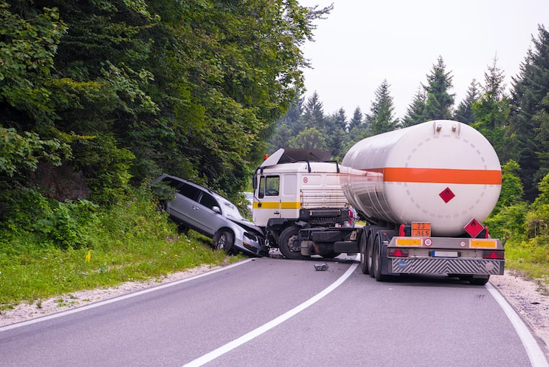 Tips for drivers who encounter on-the-road emergencies like a tanker-automobile collision ahead in the road